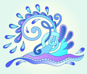 decorative aquatic blue wave with sparks and drops, water design