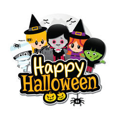 Happy Halloween Children White Banner