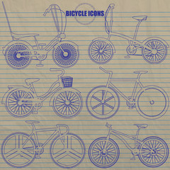 Multiple bicycle icon  hand drawing by blue color pen