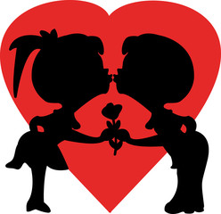 vector illustration of two children kissing silhouette