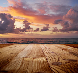 wooden table on the tropical beach