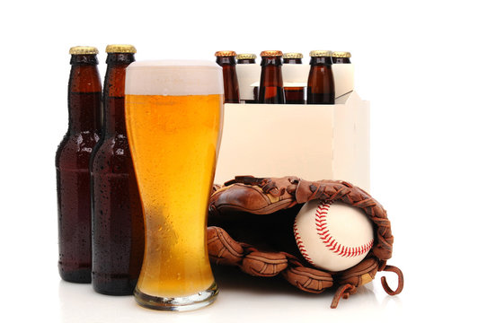 Beer Bottles and Baseball Glove with Ball