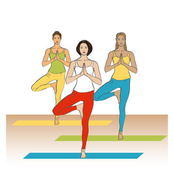 Yoga Studio. Yoga class. Women in yoga poses in yoga class. Girls in yoga poses in yoga studio. Vector yoga illustration.