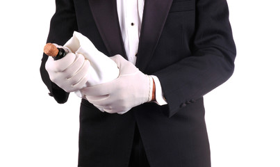 Man in Tuxedo with Champagne Bottle