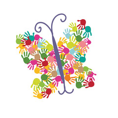 Butterfly handprints vector background