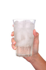 Woman Hand Holding Glass of Water and Ice