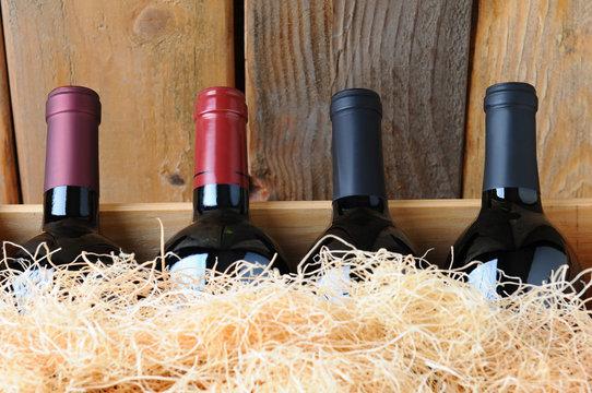 Closeup Wine Bottles in Crate