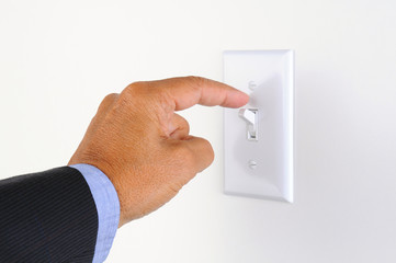 Man Turning off the Lights