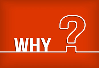 Why question mark vector with red background illustration