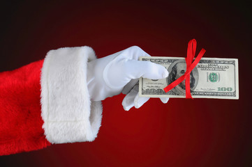 Santa Claus Hand With Money
