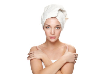 Beautiful woman with a towel on his head