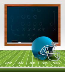 American Football Helmet and Chalkboard