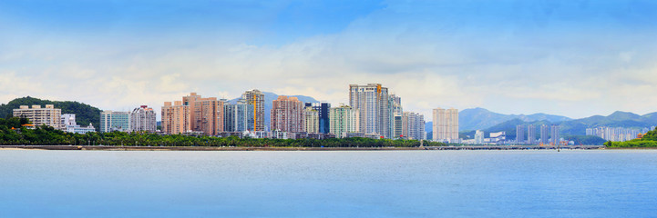 Door stickers China panorama view of zhuhai city in southern of china new economic city near hongkong and macau