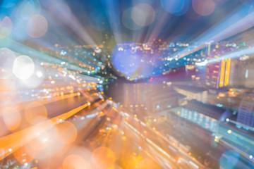 Abstract circular of Light cars bokeh in city at night