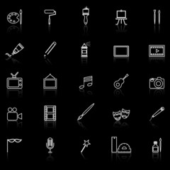 Art line icons with reflect on black