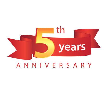 5 Ribbon Anniversary Logo