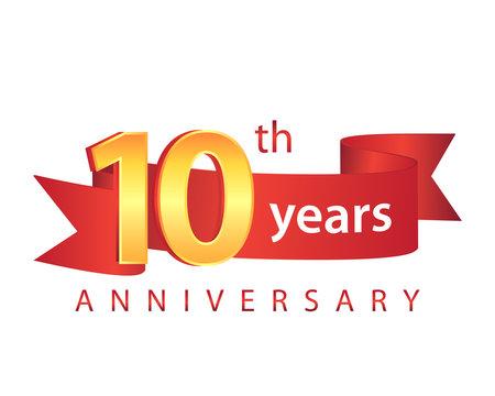 10 Ribbon Anniversary Logo