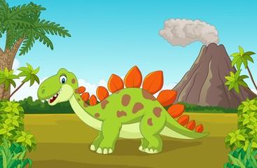 Cartoon cute dinosaur in the jungle