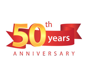 50 Ribbon Anniversary Logo