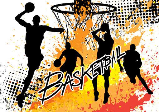 basketball player team on white grunge background