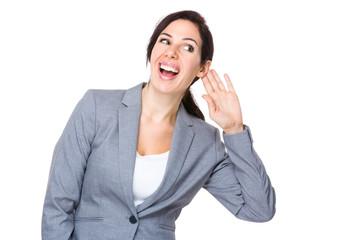 Businesswoman gossip about other talking