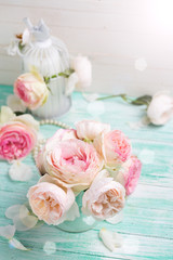 Fresh pastel roses