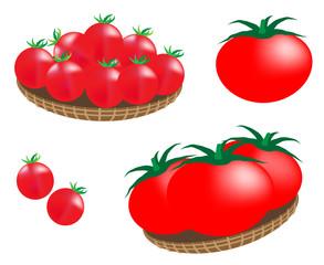 トマト、プチトマト、tomato、スーパーマーケット、まとめ売り、夏野菜、野菜、イラスト