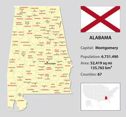 alabama administrative map with flag and country data