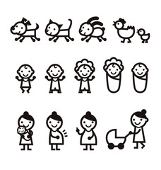赤ちゃん、おかあさん、妊婦、ペットのアイコ