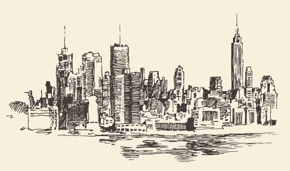 New York city architecture, vintage engraved illustration, hand drawn