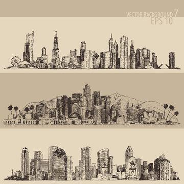 Chicago Los Angeles Houston big city architecture vintage engraved illustration hand drawn sketch