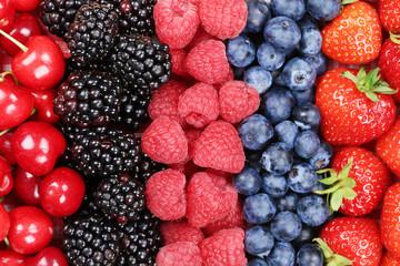 Beeren Früchte in einer Reihe mit Erdbeeren, Himbeeren und Kirs