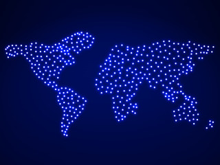 Abstract map of the earth with glowing. Vector illustration