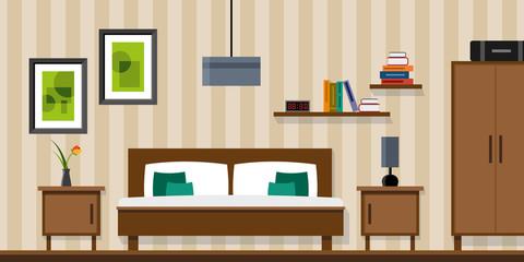 Bedroom interior - vector flat style