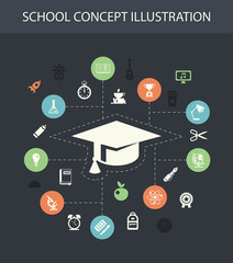 Illustration of school flat design composition with icons