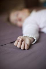 closeup hand of baby sleeping