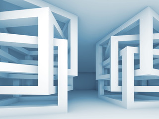 Interior with chaotic braced cube constructions, 3d