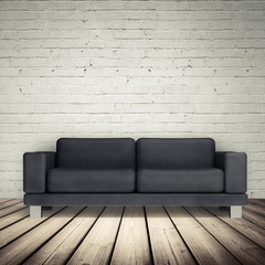 Brick wall and black leather sofa, 3d illustration