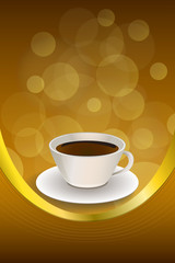 Background abstract coffee cup brown frame vertical gold ribbon