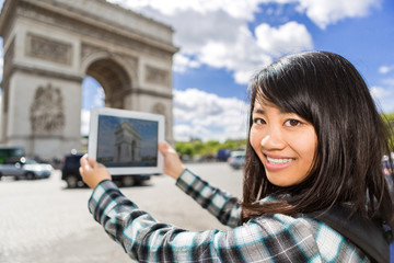 Young attractive asian tourist taking pictures in Paris