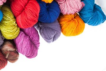 Colorful wool yarn balls