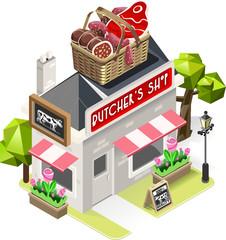 Butcher Shop City Building 3D Isometric