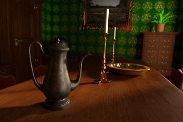 3d render of luxury manor interior - dining room