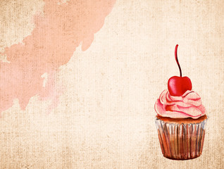 Watercolour stain and cupcake with cherry on top