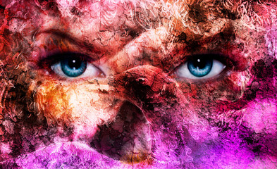 beautiful blue women eyes, color effect, painting collage,