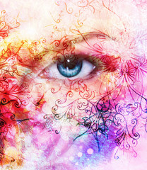 beautiful blue women eyes, color effect, painting collage