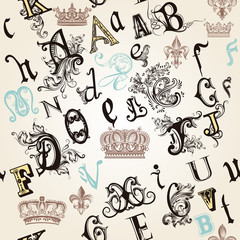 seamless pattern with English ABC in retro style decorated by or