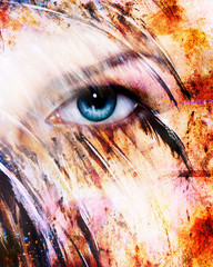 beautiful blue women eye beaming, color feathers effect, paint