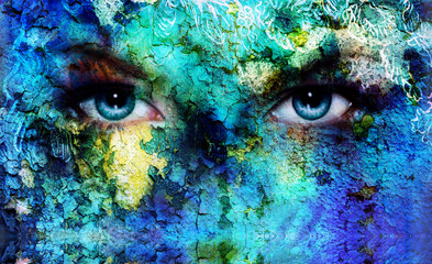 beautiful blue women eyes beaming, color desert crackle effect,