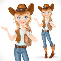 Beautiful girl in a cowboy hat and with lasso says something, is